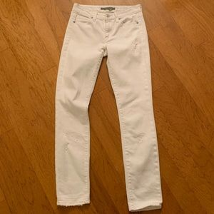 Vince White Distressed 5 Pocket Skinny Jeans